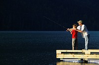 Father and son Fishing, British Columbia, Canada.