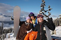 Friends on Whistler Mountain, British Columbia, Canada.