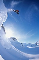 Extreme skier jumps of serac, St. Elias Mountains in Kluane National Park, Yukon, Canada.