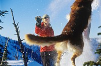 A woman and a jumping dog play in the snow in winter on a summit near Rossland, British Columbia, Canada.