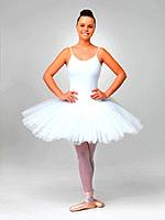 Full length of a cute ballerina wearing white tutu posing against white background
