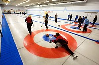 Curling in 100 Mile House, South Cariboo region, British Columbia, Canada