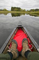 canoeing on river Spey, United Kingdom, Scotland, Cairngorms National Park