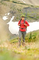 A woman hiker in the Potato Range, British Columbia