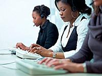 women working in call center