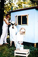 Mother and Two Daughters Painting Trailer