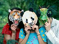 Girls Wearing Animal Masks