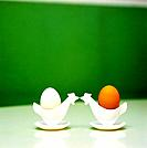 Two Eggs in Chicken_Shaped Egg Cups