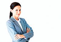 Portrait of pretty young business woman smiling with arms crossed at office