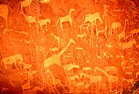 Mural painting of natives in Namibia
