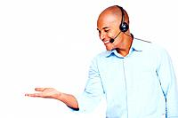 Male customer service representative holding a imaginary product in hand against white background