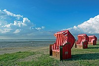 beach baskets on the ebach of Dangast, Germany, Lower Saxony, Frisia