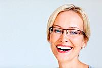 Closeup of beautiful young entrepreneur laughing _ copyspace