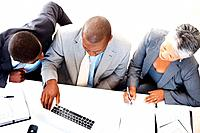 High angle view of mature business woman working with office colleagues