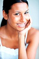 Portrait of attractive mixed race woman with beautiful smile