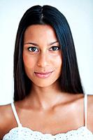 Closeup portrait of attractive mixed race woman with confident look