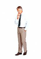 Full length of man business man thinking and holding a finger on his lips on white background