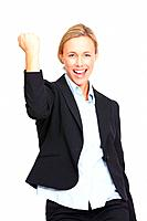 Portrait of business woman celebrating success over white background