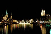 vie from Quai bridge at Zurich at night, Switzerland, Zurich