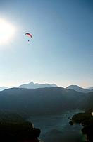 Paraglider Over Lake, Lake Brienz, Switzerland, Europe