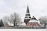 snow_covered church St. Johannis, Germany, Bergedorf, Curslack, Hamburg