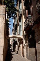 Typical street in El Born neighborhood, Barcelona, Spain