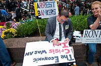 October 01, 2011, Downtown Manhattan, Wall Street financial area vicinity, Occupy Wall Street is an ongoing series of demonstrations in New York City,...