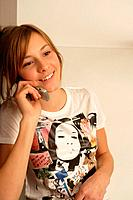 Young Woman Chatting on Cell Phone