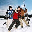Three Teenagers Posing with Ski