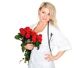 medical woman with roses