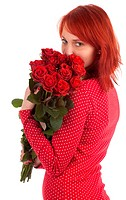 lovely woman with red roses