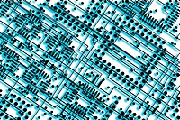 digital enhancement - two layers overlapped on film layout of multilayer printed circuit board