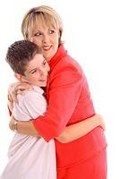 shot of a Woman hugging boy