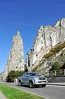 The rock formation Rocher Bayard at Dinant along the river Meuse, Belgium