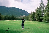B.Rondel, Golfers Stance Following Swing, Banff Springs Hotel Golf Course