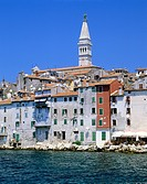 geography / travel, Croatia, Rovinj, city views / cityscapes, view of the Old Town with the Saint Euphemia´s basilica,