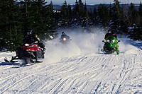 Snowmobiles in Motion, Saint_Sylvestre,Chaudiere_Appalaches region, Quebec