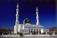 geography / travel, Oman, mosque near Hajar Mountain, exterior view,