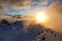 sunset at Watzmann, Germany, Bavaria, Nationalpark Berchtesgaden