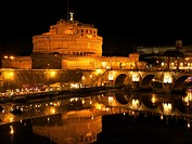 Castel San Angelo at night, Rome, Italy, Europe