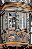 geography / travel, Germany, Hesse, Idstein, Koenig_Adolph_Platz, Killinger House built: 1615, storefront with carving,