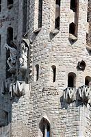 Sculpture on facade of Basilica Sagrada Familia, Barcelona, Catalonia, Spain