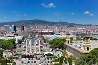 Cityscape from the Palau Nacional on Montjuic, Barcelona, Catalonia, Spain