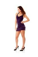 Young woman wearing a purple dress