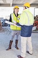 Businesswoman and worker talking on site