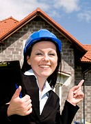 engineer woman in helmet