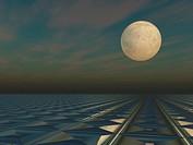 Moon Cloud Grid Scape