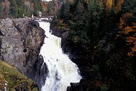 Waterfall in the Sainte_Anne Canyon park in Autumn, Beaupre, Quebec
