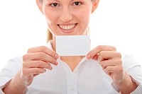 Businesswoman with business card