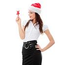 Beauty christmas woman holding christmas toy